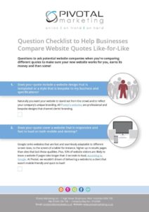 Website cost, Question Checklist to Help Businesses Compare Website Quotes