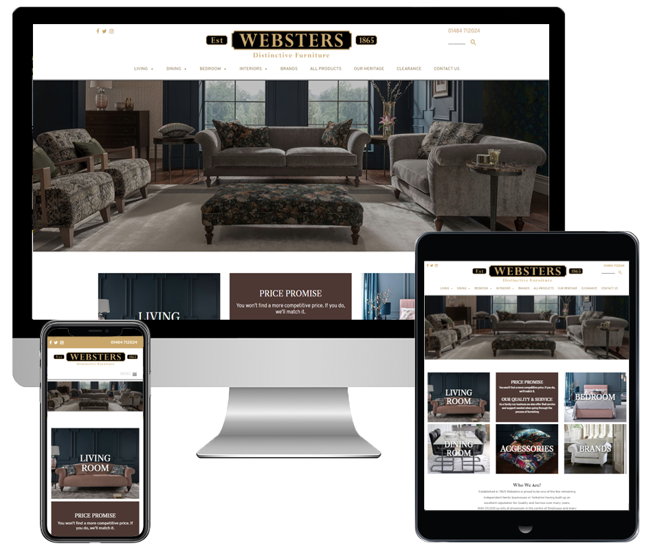 Websters Distinctive Furniture website by Pivotal Marketing